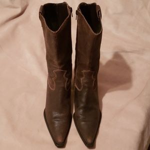 Preen New York Brown Leather Western Boots Sz 7